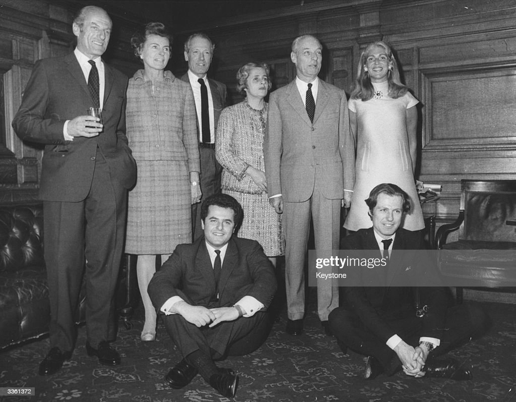The House of Rothschild. (From left to right, clockwise) Baron Elie Robert de Rothschild with wife, Baron Alain de Rothschild (1910-1982) with his wife Liliane Rothschild, Baron Guy de Rothschild with wife Marie-Helene, Eric Rothschild (son of Alain) and Nathaniel (son of Elie).