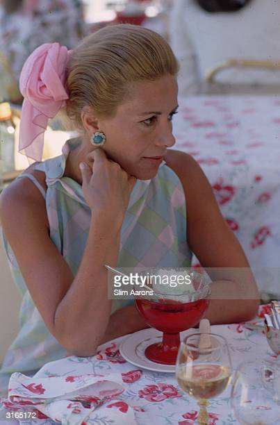 First wife of Greek ship owner Aristotle Onassis, Athina Livanos Onassis, at Palm Beach after her divorce.
