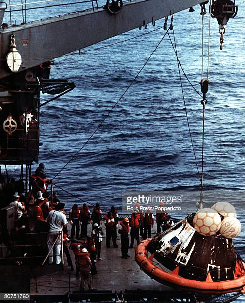 April 1970 Rescueworkers help the crew of the Apollo 13 spacecraft after it had landed in the Pacific Ocean following its disasterous space voyage