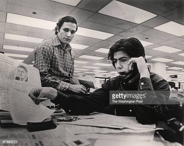 04/29/73 April 1973 CREDIT Ken Feil/TWP Bob Woodward and Carl Bernstein in the Washington Post newsroom