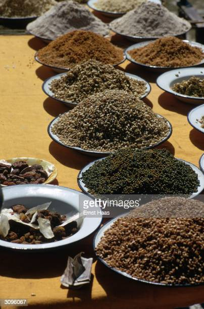Bowls of rice, pulses and dried fruit at the Kalachakra Initiation Ceremony held in Bodh Gaya in the state of Bihar in north-eastern India.