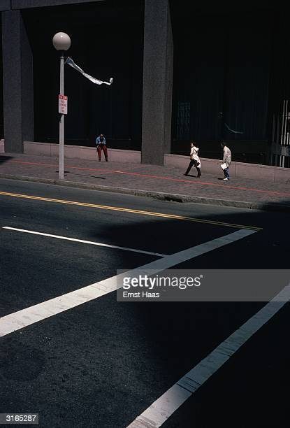 White and yellow road markings on a street in New York by the Worlds Fair construction site