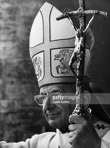 Pope Paul VI during an Easter ceremony in which he gives the 'Urbi et Orbi' blessing from the balcony of St Peter's Basilica