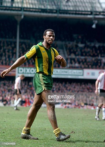 13 April 1979 Football League Div 1 Southampton v West Bromwich Albion angry looking Albion striker Cyrille Regis