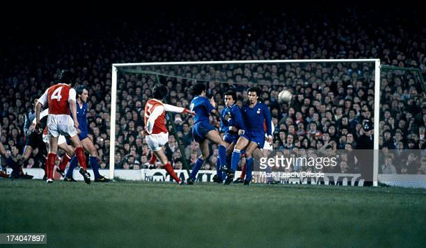 April 1980 UEFA Cup Winners Cup Football - Arsenal v Juventus Steve Walford blazes the ball over the bar as Juventus defend.