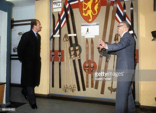 April 1982 Oslo Norway Official visit of the Kings of Spain Juan Carlos I and Sofia to Norway King of Spain at the Ski National Museum