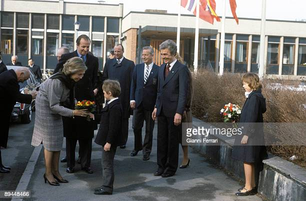 April 1982 Oslo Norway Official visit of the Kings of Spain Juan Carlos I and Sofia to Norway
