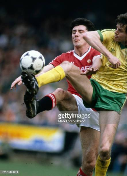 30 April 1983 Football League Division One Norwich City v Manchester UnitedSteve Walford of Norwich comes across to challenge Frank Stapleton of...