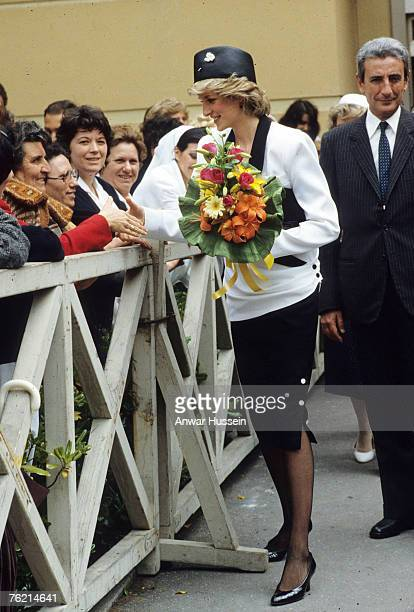 Princess Diana Princess of Wales greets the public during a visit to Italy in April/May 1985