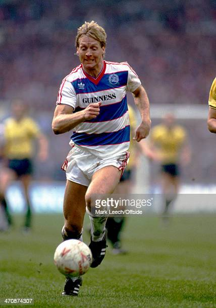 20 April 1986 Milk Cup Final Oxford United v Queens Park Rangers Steve Wicks of QPR in action against Oxford
