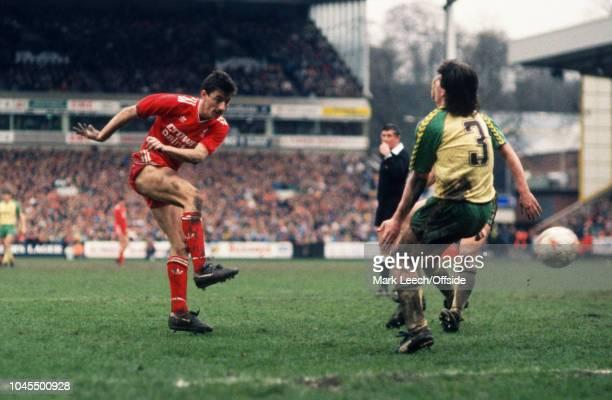 April 1987 - Football League Division 1 - Norwich City v Liverpool - Ian Rush of Liverpool shoots - .
