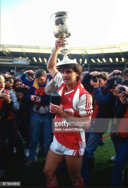 Rumbelows Cup Final Arsenal v Liverpool Charlie Nicholas of Arsenal poses with the trophy