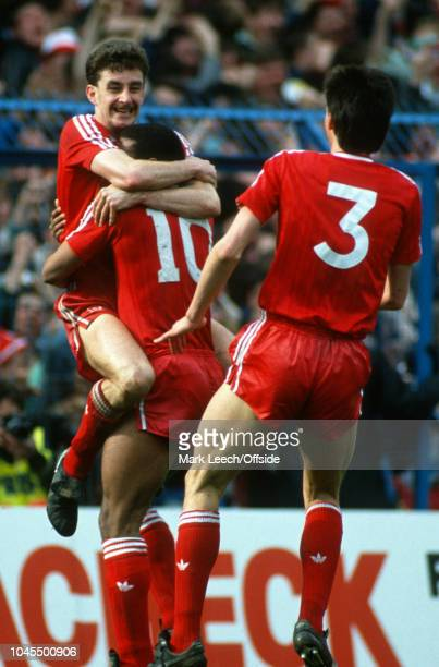 9 April 1988 FA Cup Semifinal Liverpool v Nottingham Forest John Aldridge of Liverpool celebrates his goal with John Barnes and Gary Ablett