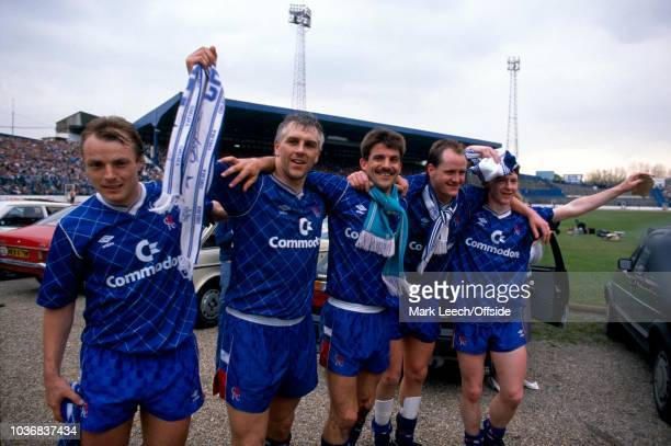 22 April 1989 Football League Division Two Chelsea v Leeds United Chelsea players John Bumstead Graham Roberts Kevin Wilson Peter Nicholas and Kevin...