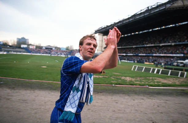 April 1989 - Football League Division Two - Chelsea v Leeds United - Kerry Dixon of Chelsea celebrates their promotion to Division One as he applauds...
