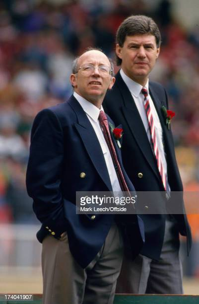 21 April 1991 Football League Cup Final Manchester United v Sheffield Wednesday United coaches Nobby Stiles and Brian Kidd wearing blazers and...