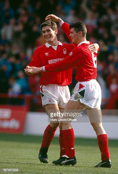 April 1991 Football League Division One - Nottingham Forest 7 Chelsea 0, Nigel Clough celebrates a Forest goal with Roy Keane .