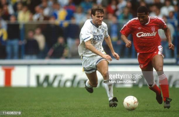 13 April 1991 Leeds v Liverpool English Football Division One Leeds John Barnes of Liverpool takes the ball past Carl Shutt of Leeds