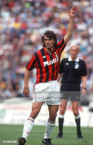 25 April 1993 Udine Seria A Calcio Udinese v AC Milan Paolo Maldini of Milan raises his arm
