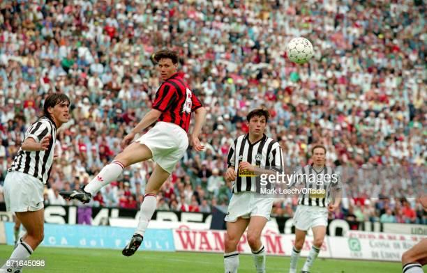 Seria A Calcio Udinese v Milan a cross fails to reach Milan substitute Marco van Basten