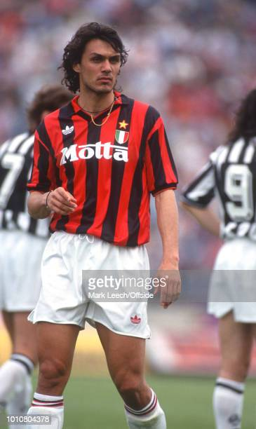 April 1993 - Udine - Serie A Calcio - Udinese v AC Milan - Paolo Maldini of Milan -
