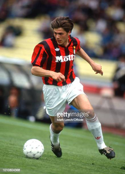 April 1993 - Udine - Serie A Calcio - Udinese v Milan - Zvonimir Boban of Milan races forwards with the ball -