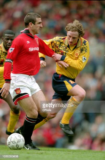 28 April 1996 FA Carling Premiership Manchester United v Nottingham Forest Eric Cantona of Manchester United stares at Scot Gemmill as the Forest...