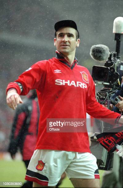 April 1996 - FA Carling Premiership - Manchester United v Nottingham Forest - Eric Cantona of Manchester United in a baseball cap -