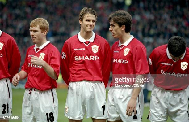 UEFA Champions League Semi Final 1st Leg Manchester United v Juventus United players Paul Scholes David Beckham and Gary Neville before the match...