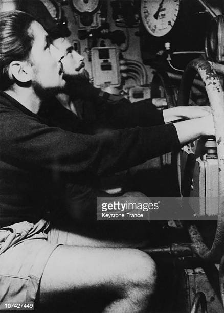 1944 April 1St 1944 Submariners Piloting U Boat During The Down Grade