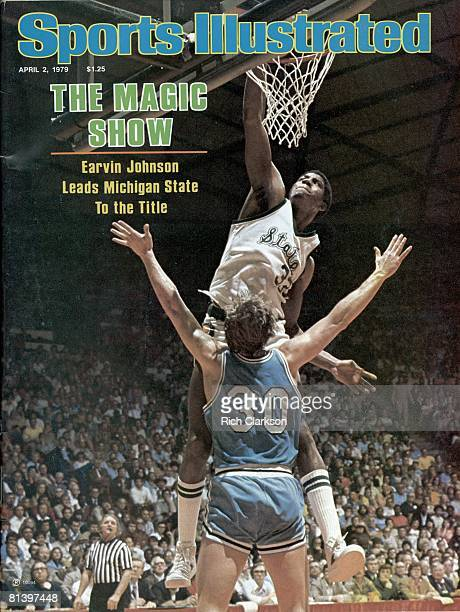 April 2 1979 Sports Illustrated Cover College Basketball NCAA Final Four Michigan State Magic Johnson in action making dunk vs Indiana State Bob...