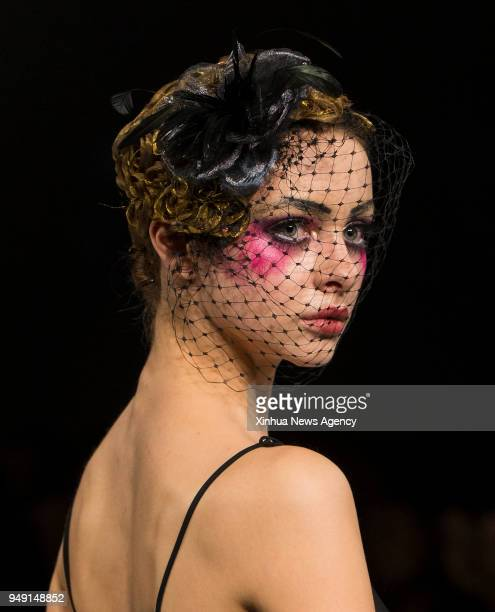 TORONTO April 20 2018 A model presents a creation by Monikova during the 2018 Fashion Art Toronto event in Toronto Canada April 19 2018