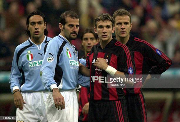 Alessandro Nesta and Giuseppe Pancaro of Lazio facing Andriy Shevchenko and Oliver Bierhoff of Milan during the Serie A 24th Round League match...