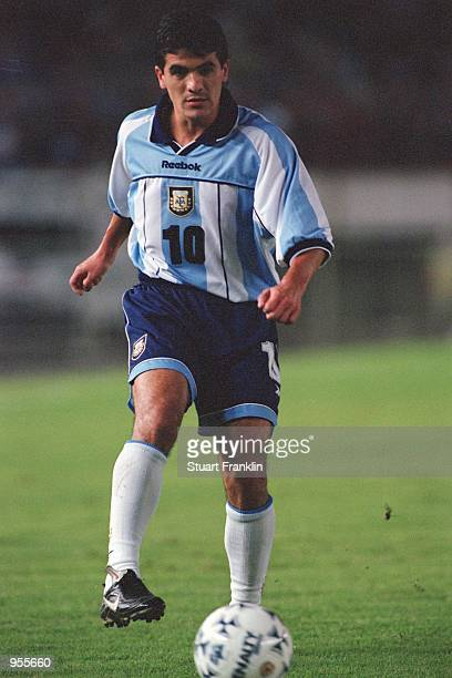 Ariel Ortega of Argentina in action during the FIFA World Cup Qualifier between Argentina and Venezuela played at the El Monumental stadium in Buenos...
