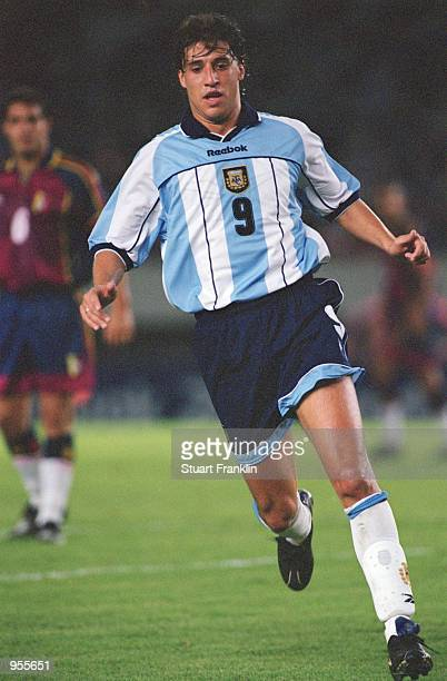 Hernan Crespo of Argentina in action during the FIFA World Cup Qualifier between Argentina and Venezuela played at the El Monumental stadium in...