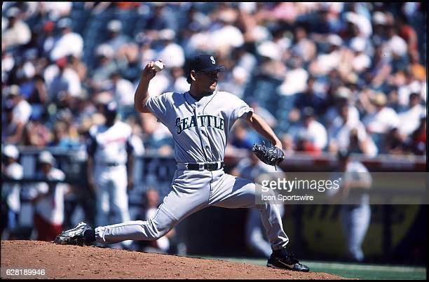 Kazuhiro Sasaki of the Seattle Mariners during a game versus the Anaheim Angels at Edison Field in Anaheim CA