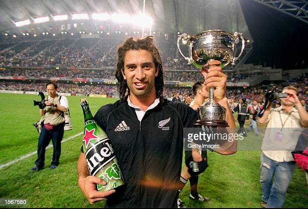 New Zealand captain Karl Te Nana holds the trophy after the Kiwi's won the IRB World Sevens Series 2001 Hong Kong Sevens tournament held at the Hong...