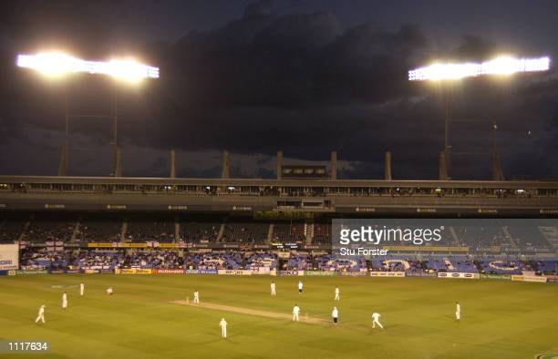 A floodlit Eden Park as play goes on till long after the scheduled finish during day four of the Third test match between New Zealand and England at...