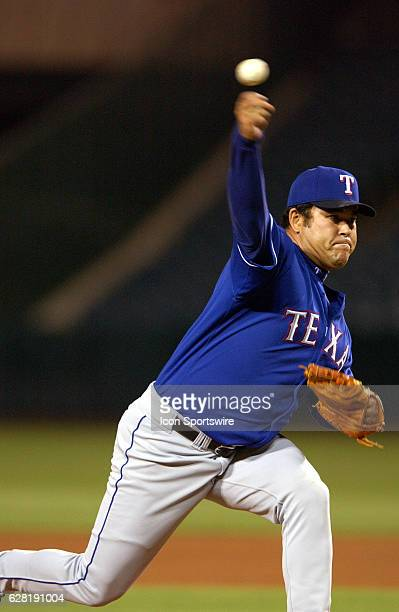 Hideki Irabu of the Texas Rangers during the Rangers 65 loss to the Anaheim Angels at Edison Field in Anaheim CA