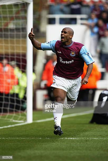 Trevor Sinclair of West Ham United celebrates opening the scoring during the FA Barclaycard Premiership match between West Ham United and Sunderland...