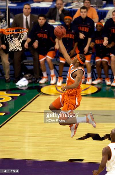 Syracuse forward Carmelo Anthony flies to the hoop during the Division I Men's Final Four semifinal game held in the Louisiana Superdome in New...