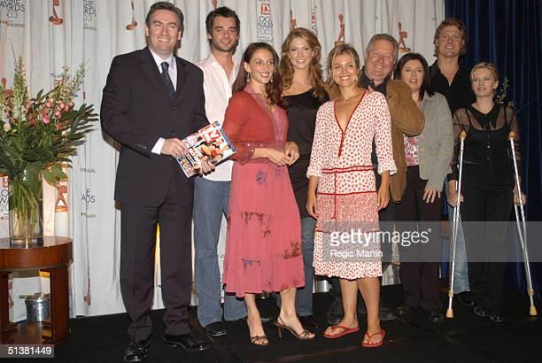 14 April 2003 X102 EDDIE MCGUIRE DANIEL COLLOPY GEORGIE PARKER DELTA GOODREM BRIDIE CARTER JOHN WOOD GINA RILEY JANE TURNER and MYLES POLLARD at the...