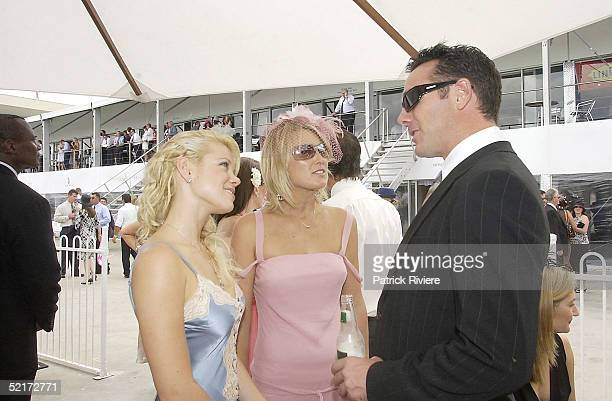 3 April 2004 Holly Brisley Alison Cratchley and Michael Willesee Jr at the Golden Slipper Racing Carnival held at Rosehill Gardens Racecourse...