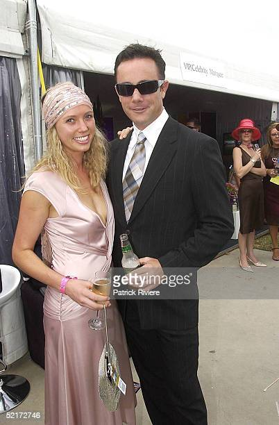 3 April 2004 Michael Willesee Jr and friend Katie at the Golden Slipper Racing Carnival held at Rosehill Gardens Racecourse Rosehill Sydney Australia