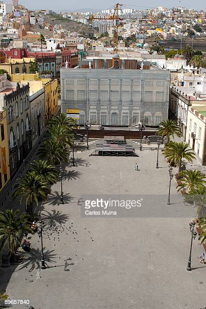 April 2006. Las Palmas de Gran Canarias, Gran Canaria . View of Santa Ana Square from the windowed balcony of Santa Ana Cathedral.