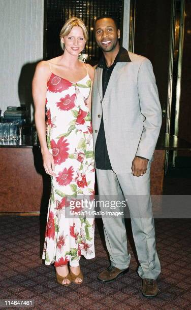 April 2006 South African soccer legend Lucas Radebe and SA swimmer Charlene Wittstock seen together at the SA Sports Illustrated magazine 20 years...