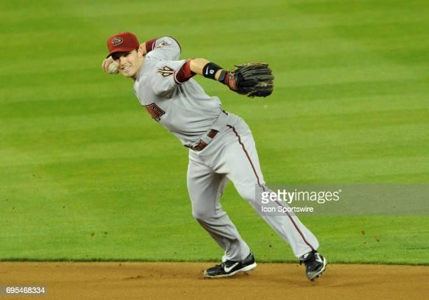 Diamondbacks Stephen Drew rockets a throw to first during a Major League Baseball Game between the Los Angeles Dodgers and the Arizona Diamondbacks...