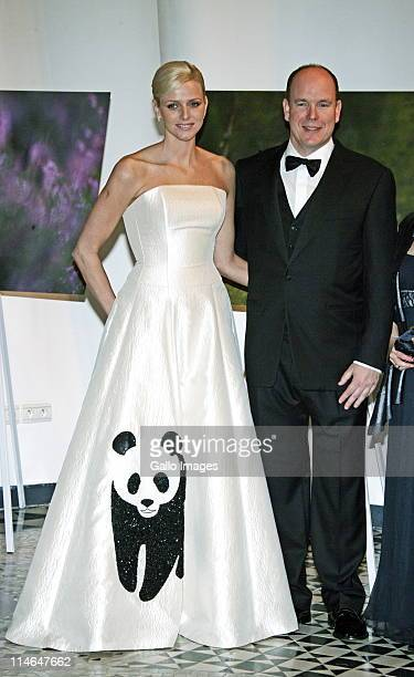5 April 2008 Monaco Prince Albert II and Miss Charlene Wittstock at the WWF International Panda Ball wearing a Isabel Christensen dress