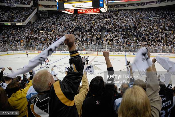 Fans celebrate the start of the 2009 Stanley Cup Playoffs in the opening game of the Eastern Conference Quarterfinals between the Philadelphia Flyers...