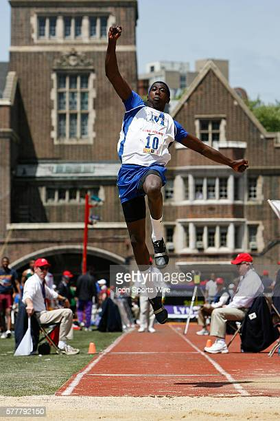 Marquis Dendy of Middletown Delaware competes in the High School Boys Triple Jump Championship during the 2010 Penn Relays at The University of...